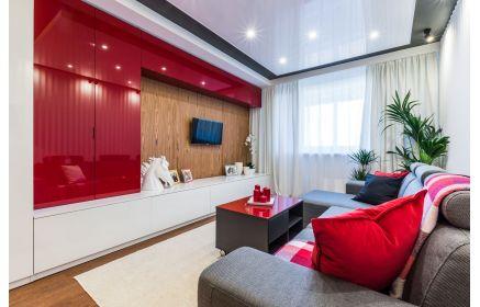 Купить Шкаф Нейл стенка 4 двери 1 верхняя и 1 нижняя тумба красно-белый цвет под заказ
