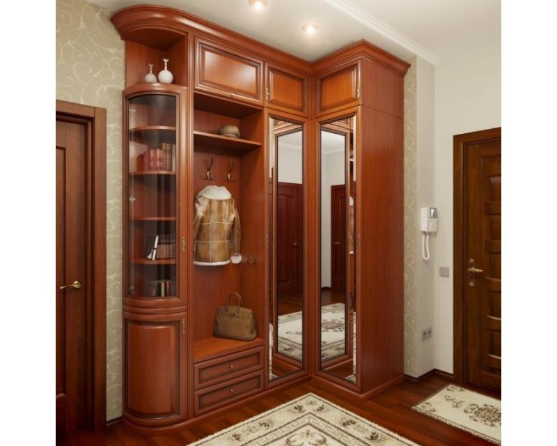 Шкаф Эрика с вешалкой  2 двери с зеркалом 1 угловая дверь со стеклом 5 угловых полок 1 полка из дерева 2 ящика 3 верхние двери из дерева цвета орех