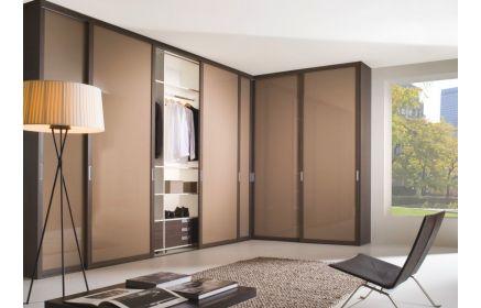 Купить Шкаф Ариса угловой с подсветкой 6 дверей с полками вешалкой и ящиками светлый коричневый и коричневый цвет под заказ