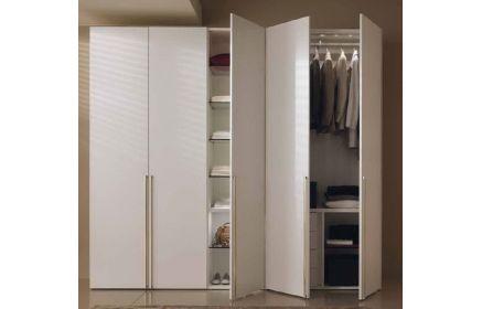 Купить Шкаф Стефани с подсветкой внутри и вешалкой 5 дверей с полками и ящиками дерево окрашенное в белое под заказ