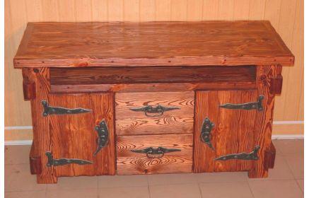 Купить Комод Лесна из дерева с металлической фурнитурой на два ящика и две дверцы под заказ
