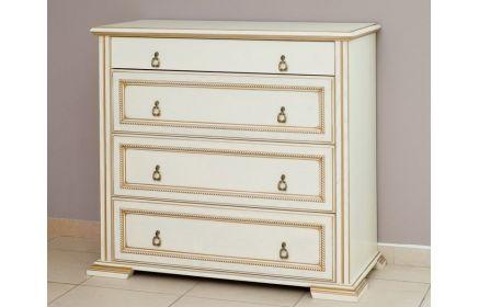 Купить Комод Оливия в простом классическом стиле белого цвета с золотым обрамлением  под заказ