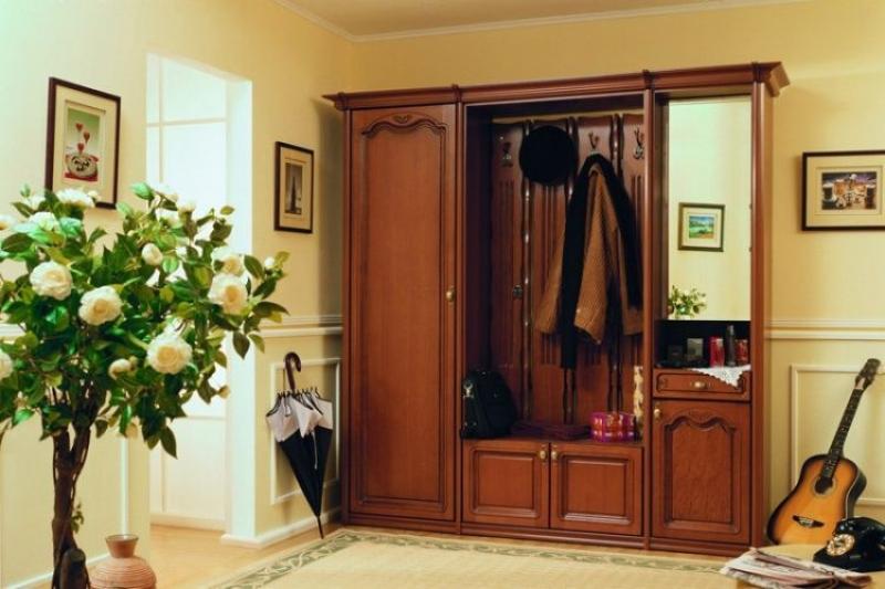 Прихожая Гелидор в классическом стиле коричневого цвета с зеркалом и крючками для одежды