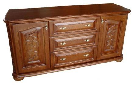 Купить Комод Бархатцы в классическом стиле коричневого цвета на две дверцы и три выдвижных ящика  под заказ