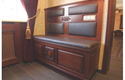 Купить Комод Кейт в классическом стиле темных оттенков дерева с мягкими сидушками  под заказ