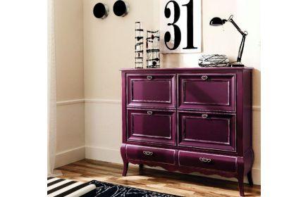 Купить Обувница Фрей фиолетового цвета в классическом стиле на 4 ящика под заказ