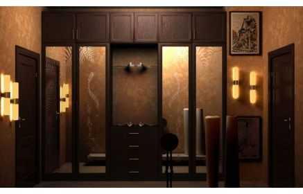 Купить Прихожая Черный кофе двери с зеркалом с ящиками с открытой полкой темно-коричневое дерево под заказ