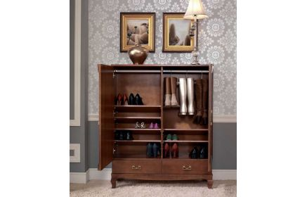 Купить Прихожая Экспрессия шкаф для обуви с полками вешалкой и ящиками коричневое дерево под заказ