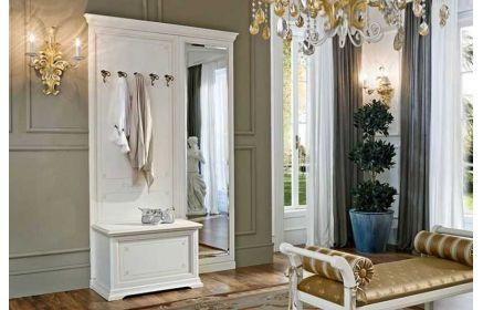Купить Прихожая Эмберли вешалка 5 крючков банкетка под обувь и зеркало белый цвет дерево под заказ