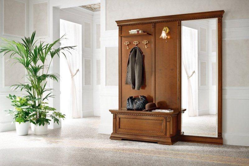 Прихожая Эн Мари открытая вешалка с полкой с тремя крючками с светильником с зеркалом и банкеткой под обувь коричневое дерево