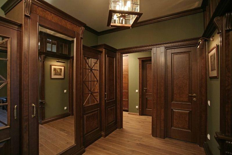 Прихожая Эретрия с зеркалом дверьми и со стеклом коричневое дерево
