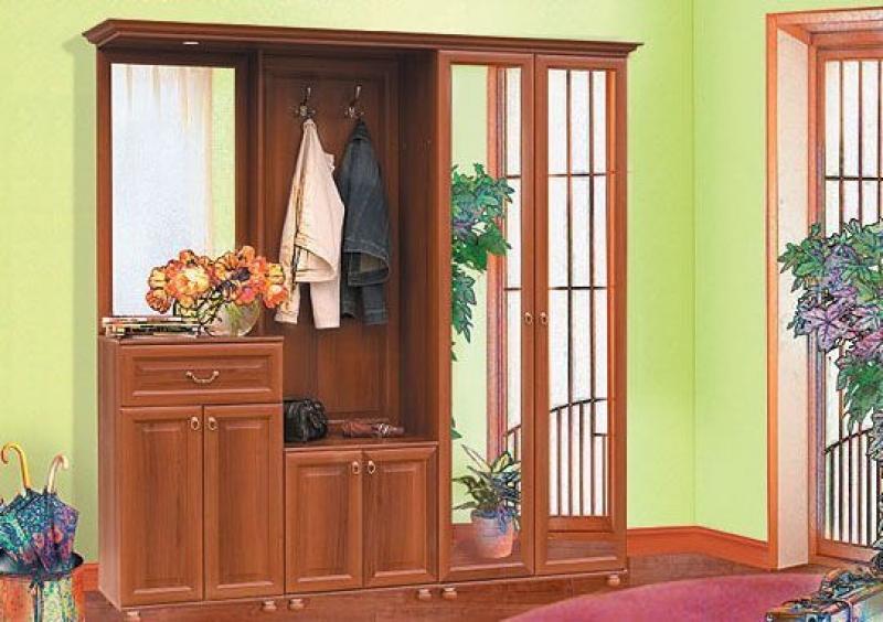 Прихожая Гладиолус в простом классическом стиле коричневого цвета с зеркалами на дверцах шкафа