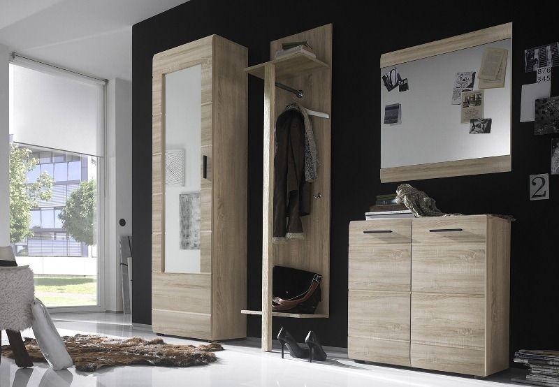 Прихожая Изабелла в стиле модерн из дерева светлых тонов в комплекте со шкафом и зеркалом