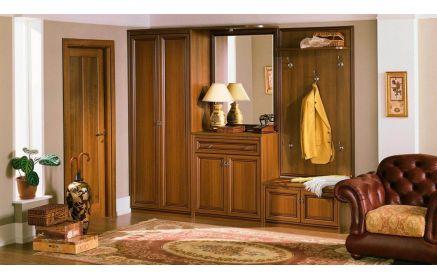 Купить Прихожая Линия шкаф комод с зеркалом и подсветкой открытая полка вешалка 5 крючков банкетка под обувь желто-коричневое дерево под заказ