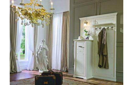 Купить Прихожая Мари узкий комод и панелью с крючками для верхней одежды и полкой для головных уборов белый цвет дерево под заказ