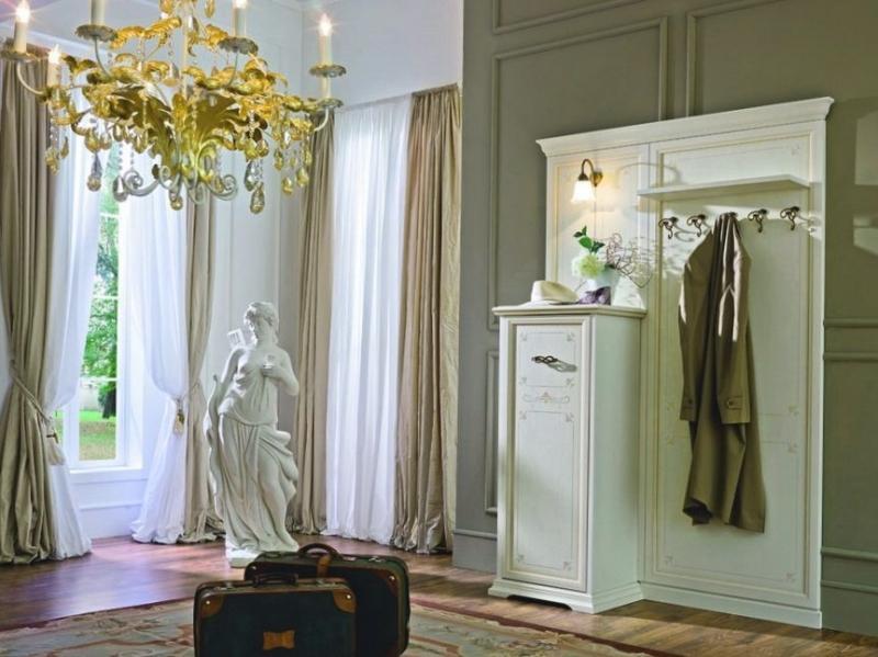 Прихожая Мари узкий комод и панелью с крючками для верхней одежды и полкой для головных уборов белый цвет дерево