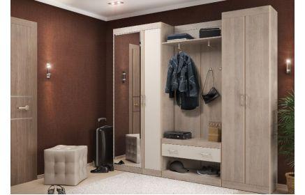 Купить Прихожая Медиано шкаф с зеркалом шкаф 2 двери 1 пуфик полка с вешалкой 4 двери 1 подвесная банкетка кремовый цвет дерево под заказ