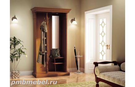 Купить Прихожая Мэри с зеркалом 2 полки 1 вешалка 4 крючка коричневое дерево под заказ