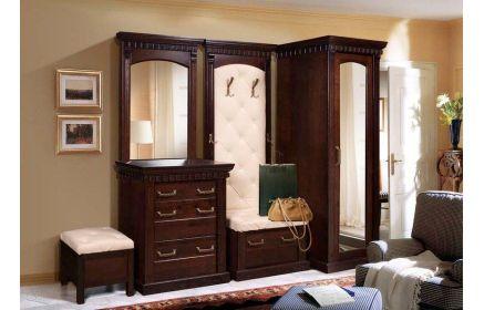 Купить Прихожая Мирт зеркальный пенал открытая вешалка с тумбой укомплектованная сидением с вместительным выдвижным ящиком для обуви комод с ящиками и зеркалом темно-коричневое дерево под заказ