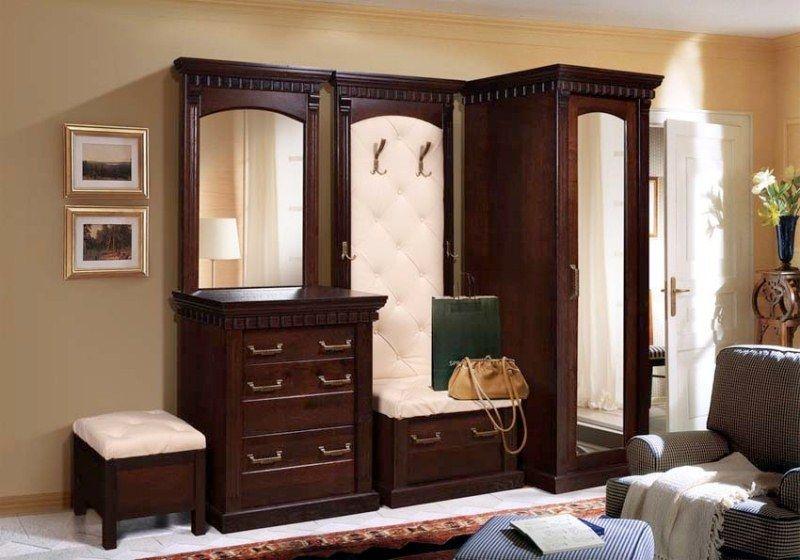Прихожая Мирт зеркальный пенал открытая вешалка с тумбой укомплектованная сидением с вместительным выдвижным ящиком для обуви комод с ящиками и зеркалом темно-коричневое дерево