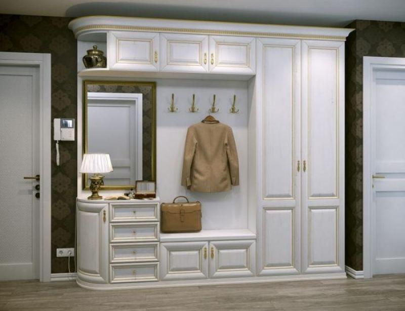 Прихожая Нюанс с зеркалом вешалка 4 крючка 4 ящика 8 дверей белый цвет с золотым напылением дерево