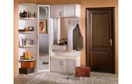 Купить Прихожая Озон угловая с зеркалом 4 двери 5 открытых полок 1 полка-ящик вешалка 3 крючка белый цвет дерево под заказ