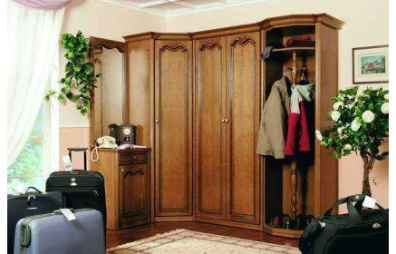 Купить Прихожая Палантин угловая 3 двери 1 тубма с зеркалом и ящиком 1 открытая полка 1 вешалка светло-коричневое дерево под заказ