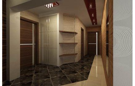 Купить Прихожая Погода угловая встроенная 6 дверей со стеклом 3 открытые полки 1 металлическая труба белое и коричневое дерево под заказ