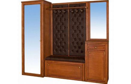 Купить Прихожая Роземунд 2 зеркала 3 двери 1 ящик 1 открытая полка 2 стенки с мягкой обивкой и вешалкой 6 крючков 1 банкетка с мягкой обивкой под обувь светло-коричневое дерево под заказ