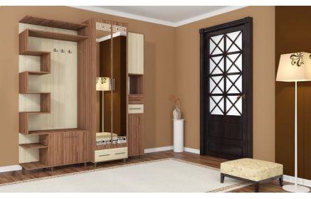Купить Прихожая Румба шкаф с зеркалом и ящиками и открытые полки вешалка 4 крючка светлое дерево под заказ