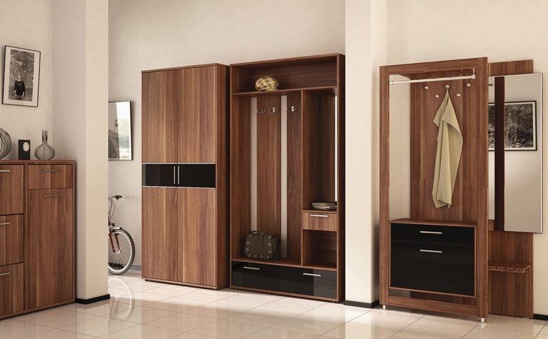 Прихожая Самба с вешалкой полками ящиками с зеркалом и 1 шкаф светло-коричневое дерево