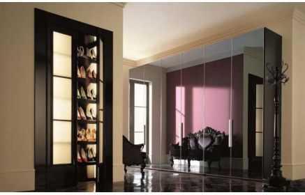 Купить Прихожая Танго двери с зеркалом черный цвет дерево под заказ