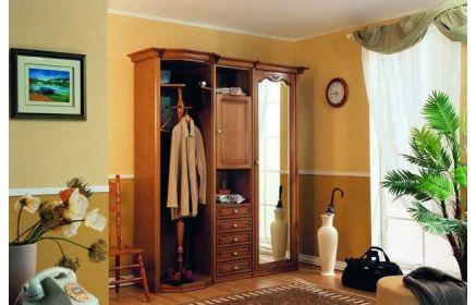 Купить Прихожая Театр с зеркалом вешалкой ящиками дверью и полками коричневое дерево под заказ
