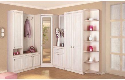 Купить Прихожая Темп угловая с зеркалом шкафы и тумбы с дверьми вешалка 2 крючка открытые полки белый цвет дерево под заказ
