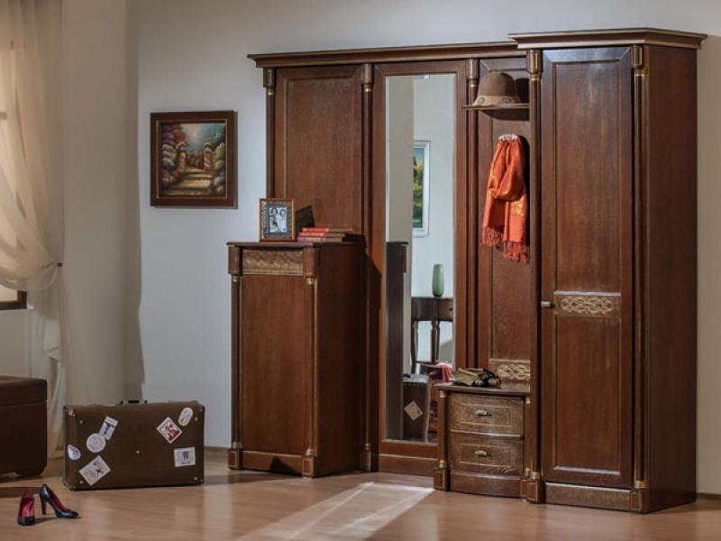 Прихожая Топаз с зеркалом 2 шкафа 1 тумба 1 открытая полка с вешалкой коричневое дерево под старину