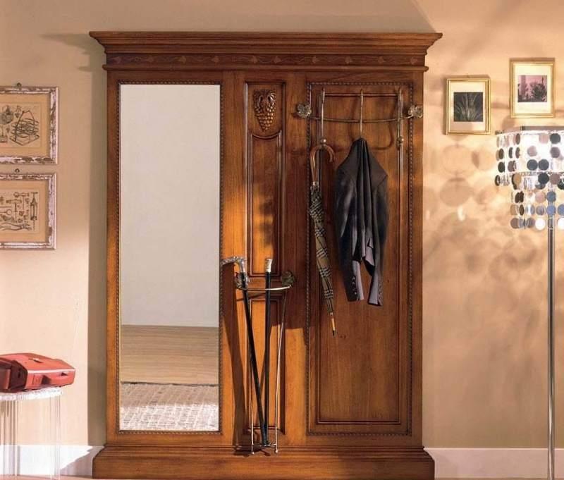 Прихожая Трафарет с зеркалом со стойкой под зонт с вешалкой коричневое дерево с узором