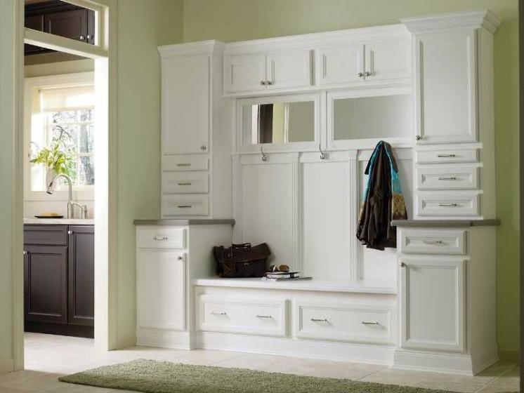 Купить Прихожая Снегопад с зеркалами вешалка 3 крючка шкафчики с дверьми и ящиками белый цвет дерево под заказ