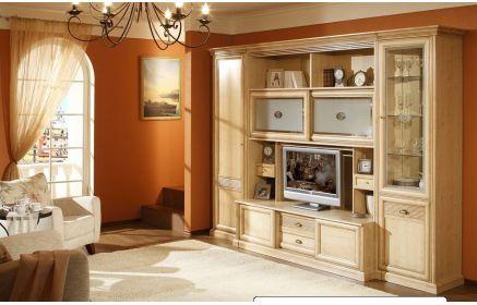 Купить Стенка Лахири под ТВ 4 двери из дерева 3 двери со стеклом 4 ящика 6 полок кремовый цвет под заказ
