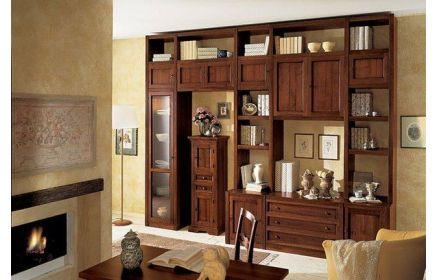 Купить Стенка Лоренс 11 дверей из дерева 5 ящиков 1 дверь со стеклом 12 открытых полок коричневое дерево под заказ