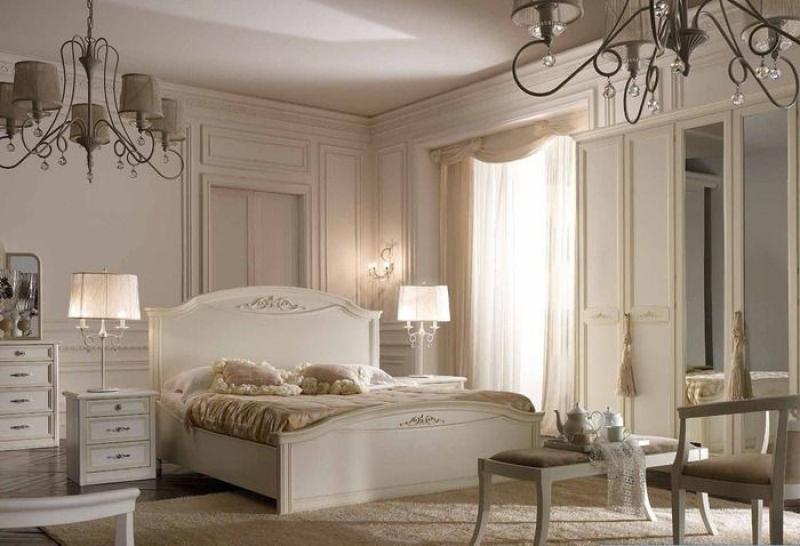 Шкаф Безмятежность с зеркалом 4 двери белый цвет