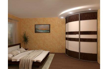 Купить Шкаф Премьер встроенный угловой дугообразный 3 двери коричнево-белый цвет под заказ