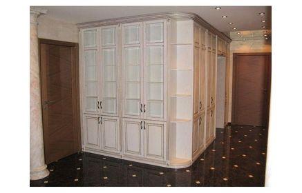 Купить Шкаф Алкиной встроенный угловой со стеклом 9 дверей 5 угловых полок 7 верхних дверей 1 арка белый цвет под заказ