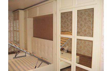 Купить Шкаф Амфилох стенка с встроенной кроватью 4 двери с зеркалом белый цвет под заказ