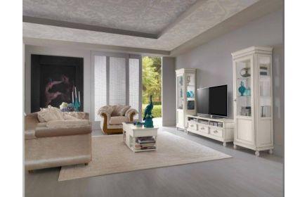 Купить Шкаф Миа 2 шкафа со стеклом и полками Тумба под телевизор с 3 полками с 3 ящиками дерево окрашено в белый цвет под заказ