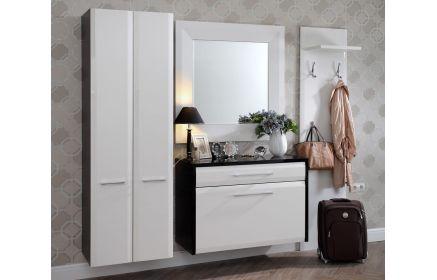 Купить Шкаф Мила в прихожую подвесной шкаф 2 двери подвесная тумба с 2 ящиками настенное зеркало настенная вешалка с полкой дерево окрашено в белый и черный цвет под заказ