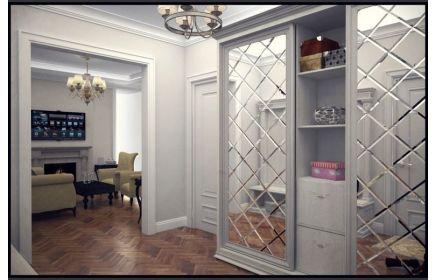 Купить Шкаф Моби-Дик 2 двери с зеркалом 3 полки 2 ящика дерево окрашено в белый цвет под заказ