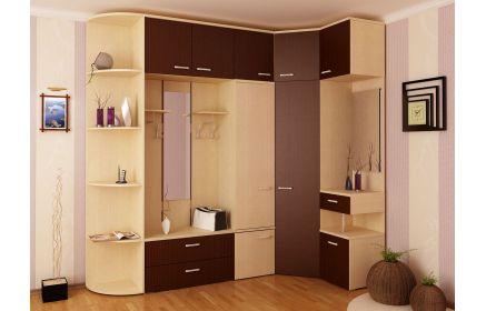 Купить Шкаф Северин угловой с вешалкой и зеркалом 2 зеркала 8 дверей 4 ящика 10 полок светлое с желтоватым оттенком дерево и коричневое дерево под заказ