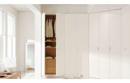 Купить Шкаф Вираж встроенный угловой с подсветкой 2 лампы 12 дверей белый цвет и светлое дерево под заказ