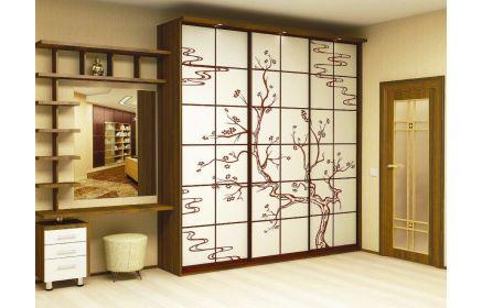 Купить Шкаф Рео 3 двери с подсветкой со стеклом и рисунком 3 лампы 1 стол 1 комод с 3 ящиками 9 полок желто-коричневое дерево под заказ