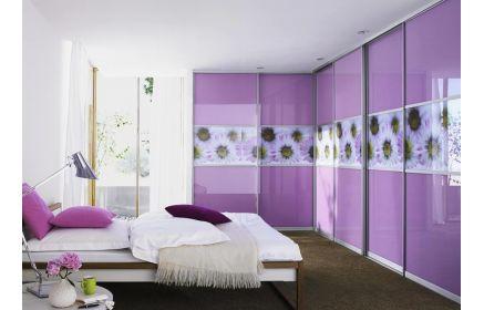 Купить Шкаф Сирень угловой с фотопечатью 6 дверей фиолетового цвета под заказ